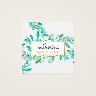 Cartão De Visitas Quadrado Folhas pintadas da NATUREZA aguarela moderna