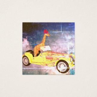 Cartão De Visitas Quadrado Girafa em notas do padrão do espaço
