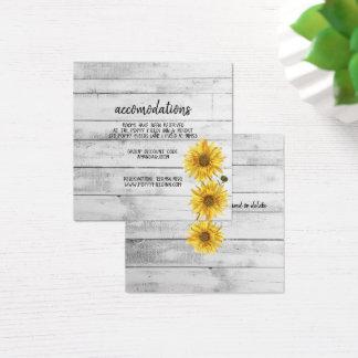 Cartão De Visitas Quadrado Girassóis de madeira brancos rústicos que Wedding