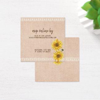 Cartão De Visitas Quadrado Girassóis rústicos do laço & da serapilheira que