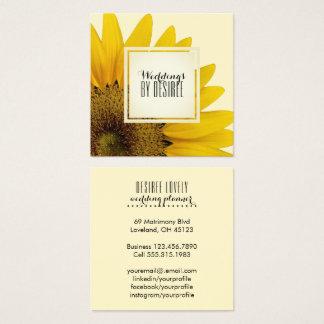 Cartão De Visitas Quadrado Girassol amarelo do planejador | do casamento