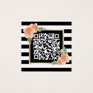 Cartão De Visitas Quadrado Listras modernas QR do código floral do vintage
