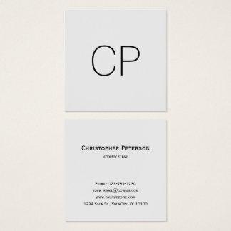 Cartão De Visitas Quadrado Monograma elegante minimalista do escritório do