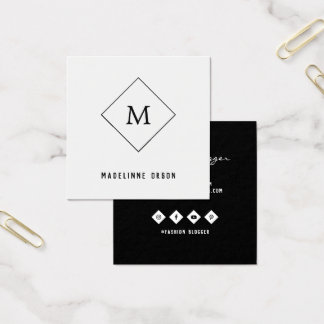 Cartão De Visitas Quadrado Monograma minimalista
