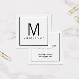 Cartão De Visitas Quadrado Monograma moderno preto e branco
