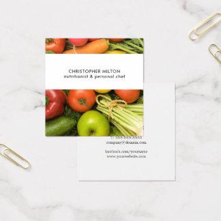 Cartão De Visitas Quadrado Nutricionista original dos vegetais