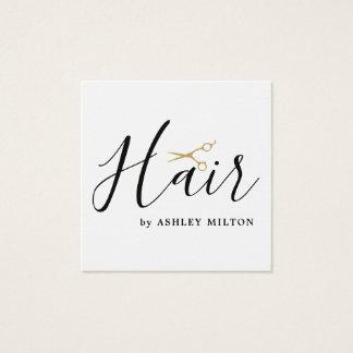 Cartão De Visitas Quadrado O branco limpo elegante Scissors o cabeleireiro