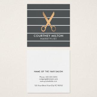 Cartão De Visitas Quadrado O cinza chique moderno listra o cabeleireiro do