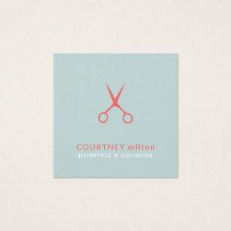 Cartão De Visitas Quadrado O Pastel azul elegante Scissors o cabeleireiro