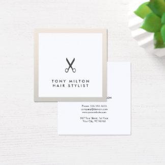 Cartão De Visitas Quadrado O preto elegante simples Scissors o cabeleireiro