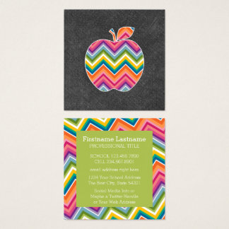 Cartão De Visitas Quadrado O professor feito sob encomenda Apple com Chevron