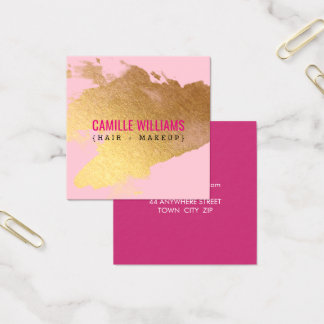 Cartão De Visitas Quadrado Rosa glam MINIMALISTA LUXE do respingo da folha de