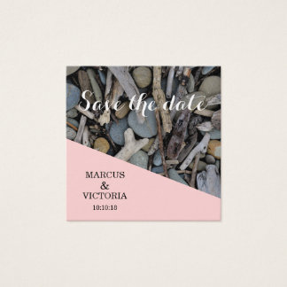 Cartão De Visitas Quadrado Salvar as pedras da praia do rosa da data que