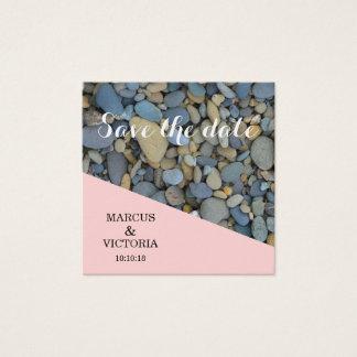 Cartão De Visitas Quadrado Salvar os seixos do rosa da data que Wedding