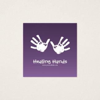 Cartão De Visitas Quadrado Terapia da massagem - roxo