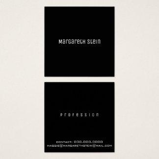 Cartão De Visitas Quadrado unica elegante minimalista um preto do estilo de