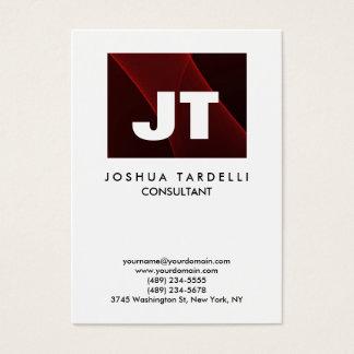 Cartão De Visitas Qualidade moderno original do monograma vermelho &