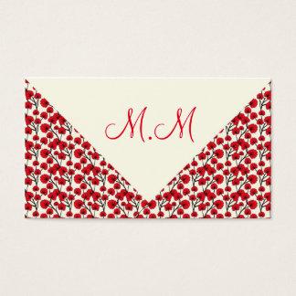 Cartão De Visitas Red floral vintage