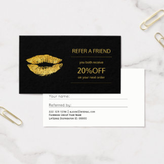 Cartão De Visitas Referência dos lábios do ouro do distribuidor dos