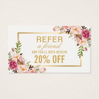 Cartão De Visitas Referência floral feminino do salão de beleza do