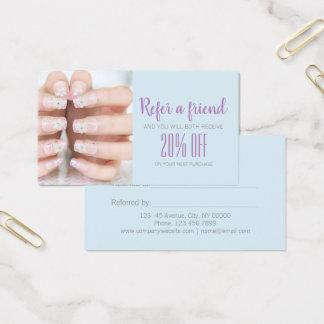 Cartão De Visitas Referência minimalista do salão de beleza do prego