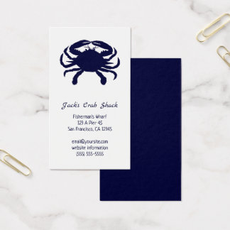 Cartão De Visitas Restaurante azul escuro do marisco da silhueta do