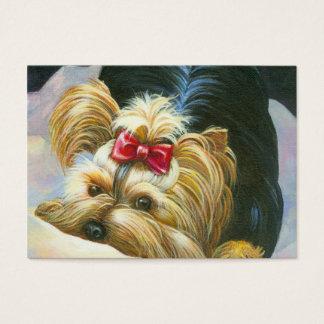 Cartão De Visitas Retrato brincalhão pequeno bonito de Yorkie