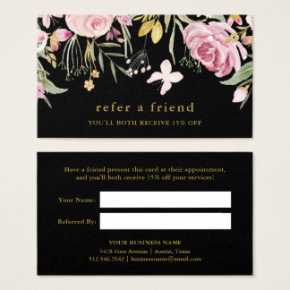 Cartão De Visitas Rosa da aguarela e preto floral da referência | do
