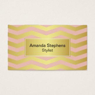 Cartão De Visitas Rosa e elegância feminino do ouro