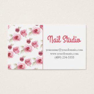 Cartão De Visitas Rose floral nail studio