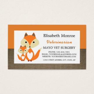 Cartão De Visitas Serapilheira alaranjada do Fox, veterinário,