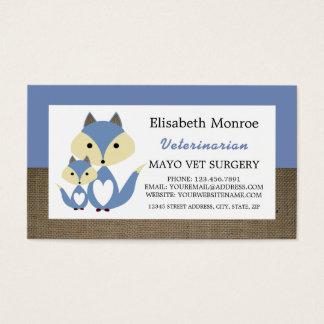 Cartão De Visitas Serapilheira do Fox azul, veterinário, veterinário