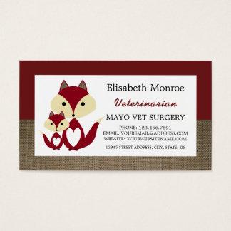 Cartão De Visitas Serapilheira do Fox vermelho, veterinário,