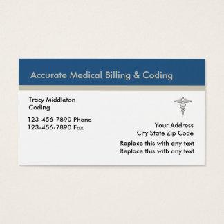 Cartão De Visitas Serviços médicos do faturamento e da codificação