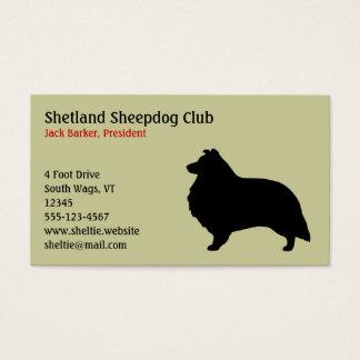 Cartão De Visitas Silhueta do Sheepdog de Shetland
