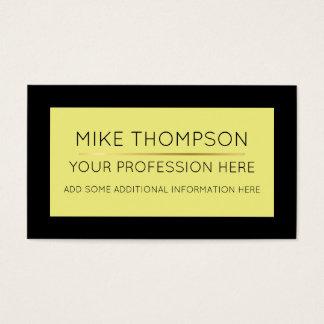Cartão De Visitas simples & moderno amarelos pálido & pretos, super