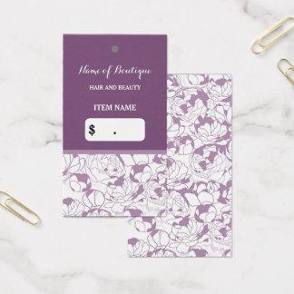 Cartão De Visitas Tag feminino floral roxo moderno do cair do
