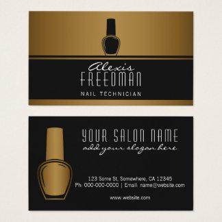 Cartão De Visitas Técnico preto cintilante do prego do ouro e do