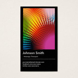 Cartão De Visitas Terapeuta da massagem - cores na moda do arco-íris