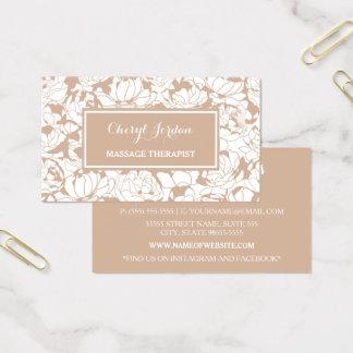 Cartão De Visitas Terapeuta feminino floral moderno da massagem de