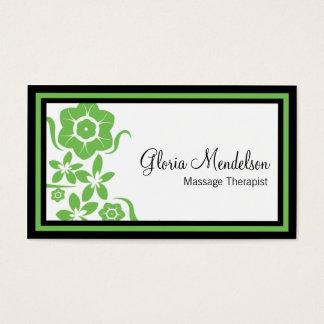 Cartão De Visitas Terapia floral verde corajosa da massagem