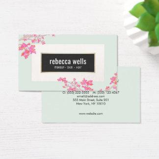 Cartão De Visitas Termas florais cor-de-rosa bonito da pele e das