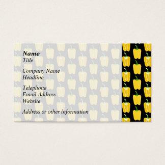 Cartão De Visitas Teste padrão amarelo das pimentas. No preto