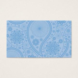 Cartão De Visitas Teste padrão azul de paisley