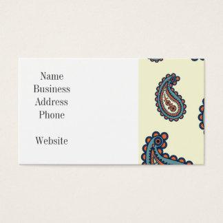 Cartão De Visitas Teste padrão azul e alaranjado Pastel de Paisley