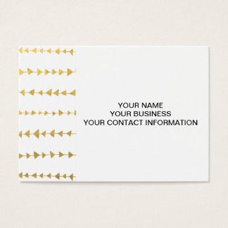 Cartão De Visitas Teste padrão branco das setas da folha de ouro do