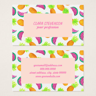 Cartão De Visitas teste padrão colorido da melancia do abacaxi da