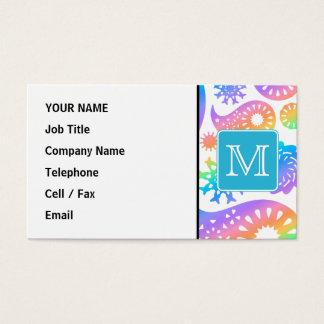 Cartão De Visitas Teste padrão colorido de Paisley com monograma