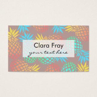 Cartão De Visitas teste padrão colorido tropical do abacaxi do verão
