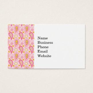 Cartão De Visitas Teste padrão cor-de-rosa bonito de Paisley
